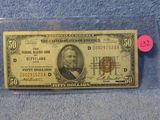 1929 $50. NATIONAL CURRENCY NOTE CLEVELAND, OH. AU