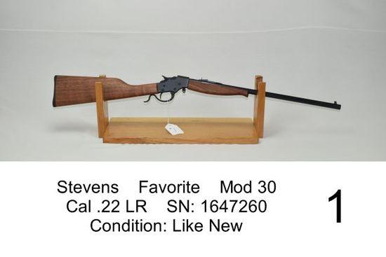 Stevens    Favorite    Mod 30    Cal .22 LR    SN: 0647260    Condition: Like New