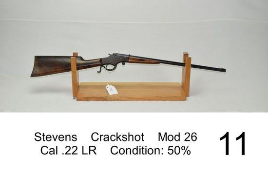 Stevens    Crackshot    Mod 26    Cal .22 LR    Condition: 50%