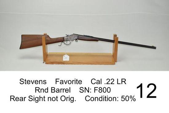 Stevens    Favorite    Cal .22 LR    Rnd Barrel    SN: F800    Rear Sight not Original    Condition: