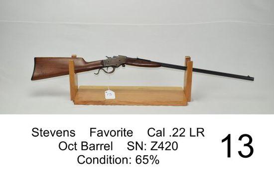 Stevens    Favorite    Cal .22 LR    Oct Barrel    SN: Z420    Condition: 65%
