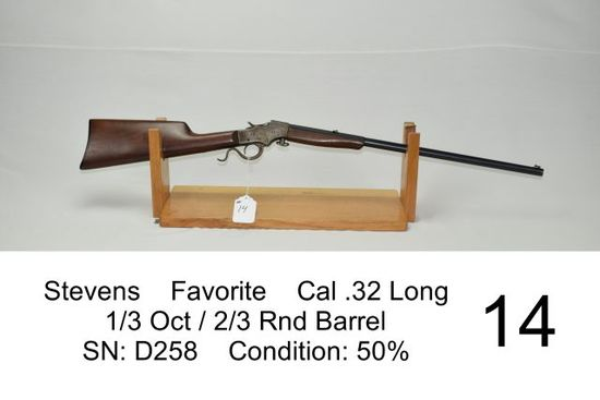 Stevens    Favorite    Cal .32 Long   ? Oct / ? Rnd Barrel    SN: D258    Condition: 50%