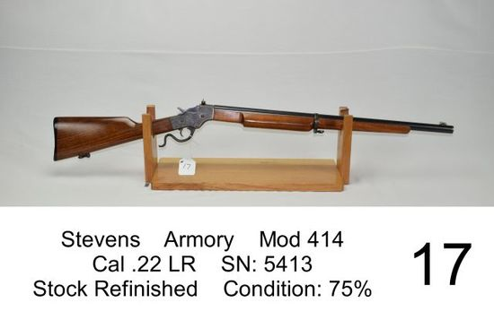 Stevens    Armory    Mod 414    Cal .22 LR    SN: 5413    Stock Refinished    Condition: 75%