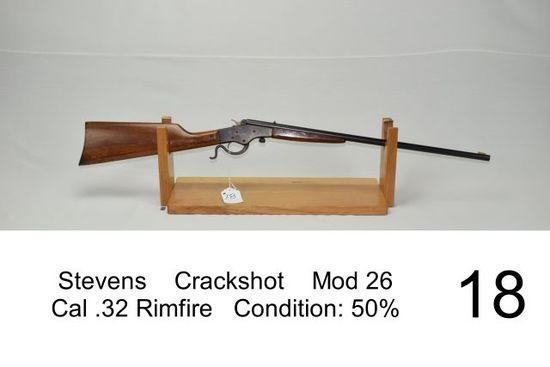 Stevens    Crackshot    Mod 26    Cal .32 Rimfire    Condition: 50%