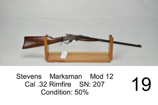 Stevens    Marksman    Mod 12    Cal .32 Rimfire    SN: 207    Condition: 50%