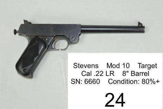 """Stevens    Mod 10    Target    Cal .22 LR    8"""" Barrel    SN: 6660    Condition: 80%+"""