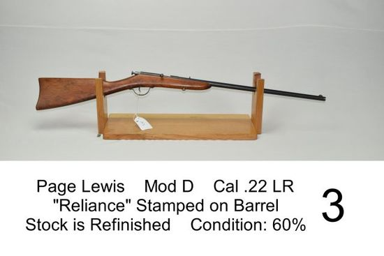 """Page Lewis    Mod D    Cal .22 LR    """"Reliance"""" Stamped on Barrel    Stock is Refinished    Conditio"""
