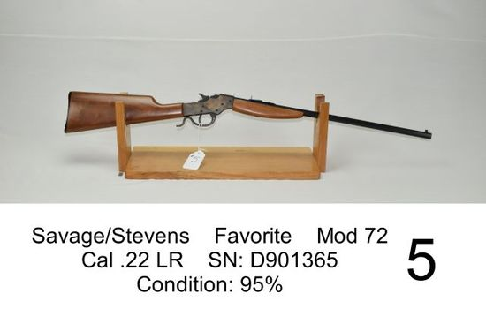 Savage/Stevens    Favorite    Mod 72    Cal .22 LR    SN: D901365    Condition: 95%