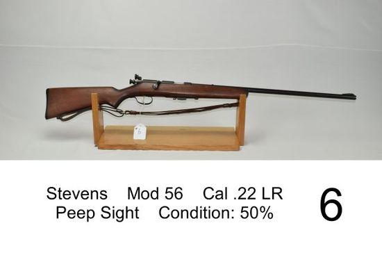 Stevens    Mod 56    Cal .22 LR    Peep Sight    Condition: 50%