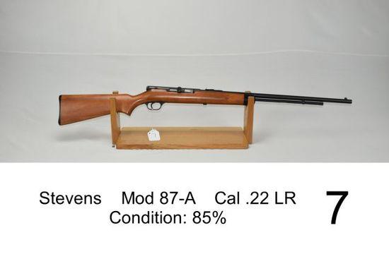 Stevens    Mod 87-A    Cal .22 LR    Condition: 85%