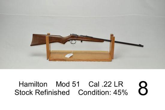 Hamilton    Mod 51    Cal .22 LR    Stock Refinished    Condition: 45%