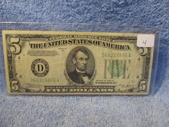 1934B $5. FEDERAL RESERVE NOTE CLEVELAND, OH. XF