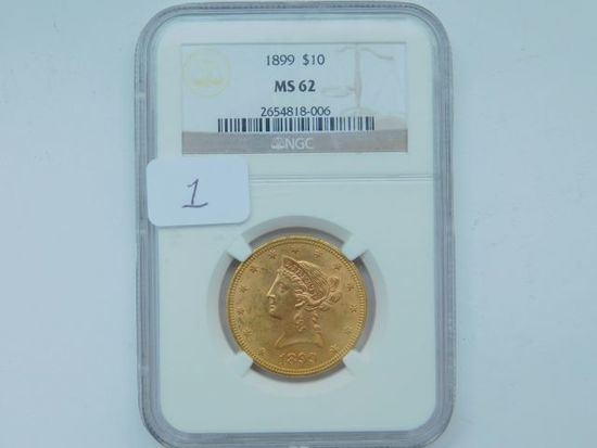 1899 $10. LIBERTY HEAD GOLD PIECE NGC MS62