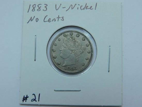 1883 NO CENTS V-NICKEL AU