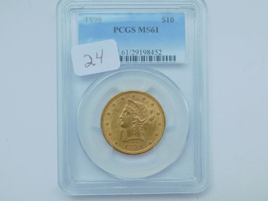 1899 $10. LIBERTY HEAD GOLD PIECE PCGS MS61