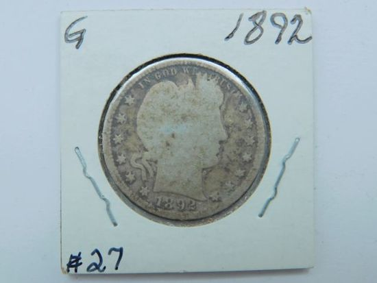 1892 BARBER QUARTER (FIRST YEAR) G