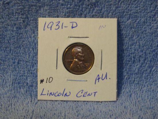 1931D LINCOLN CENT AU