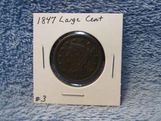 1847 LARGE CENT VF