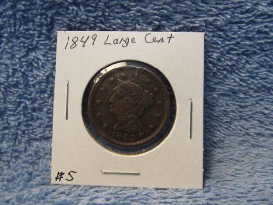 1849 LARGE CENT (MINT ERROR) XF