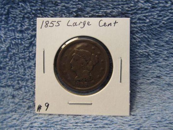 1855 LARGE CENT VF