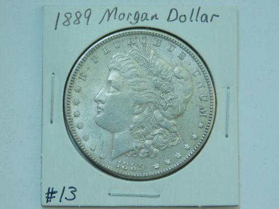 1889 MORGAN DOLLAR AU