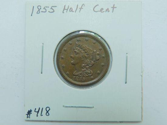 1855 HALF CENT UNC