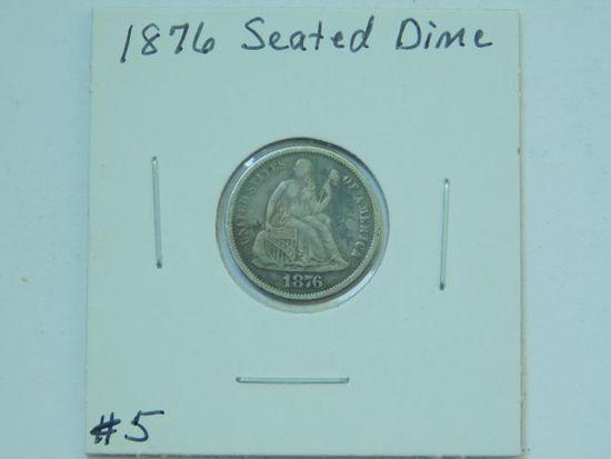 1876 SEATED DIME XF