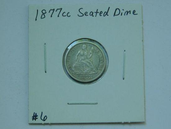 1877CC SEATED DIME VF+