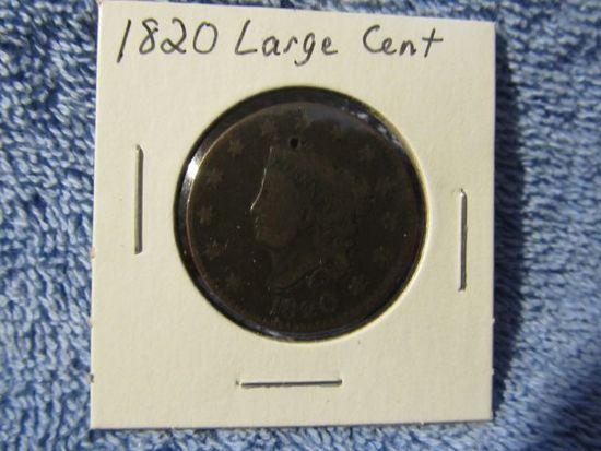 1820 LARGE CENT (OBV. DIG) VG