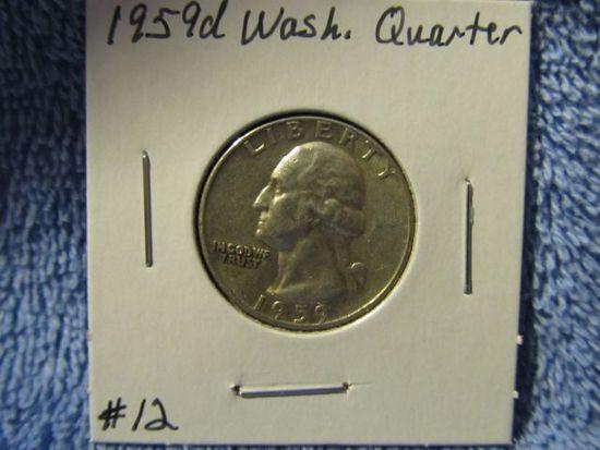 1959D WASHINGTON QUARTER BU