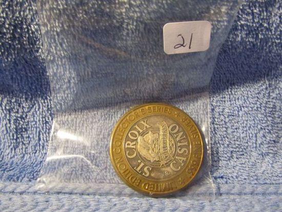 1996 ST. CROIX CASINO .999 SILVER GAMING TOKEN