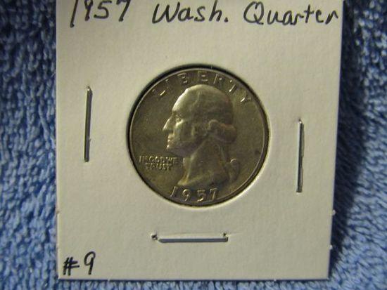 1957 WASHINGTON QUARTER BU