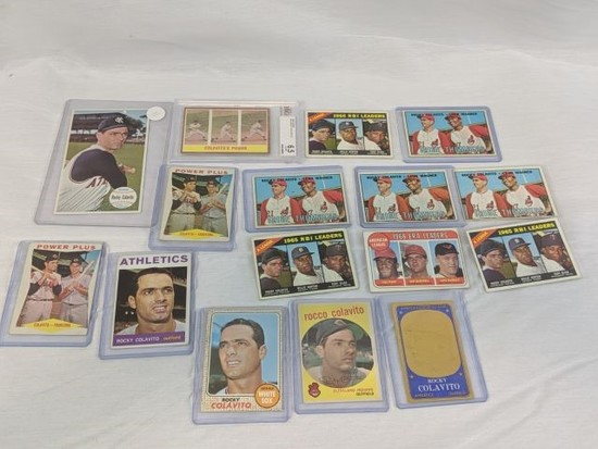 Rocky Colavito lot of 16 cards, one graded, many unusual cards