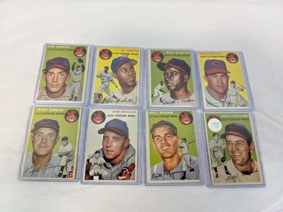 1954 Topps Group of 8 Cleveland Indian cards