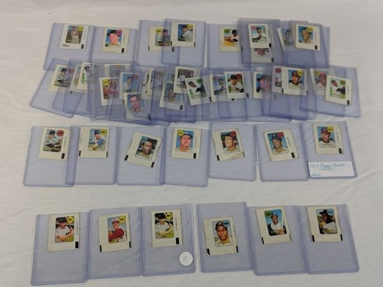 1969 Topps decal cards lot of 45, includes: Mantle (2), Rose, Clemente,  Mays & other stars