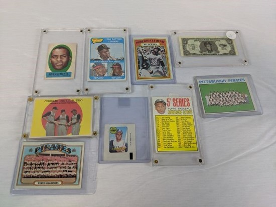 Clemente lot of 9 items: all Topps cards. Including: 1962 Baseball Bucks