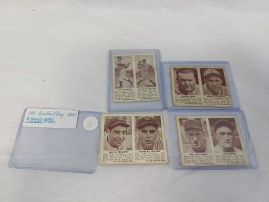 1941 Double Play R330: DiMaggio, Williams, Keller, Mize plus,  4 card lot