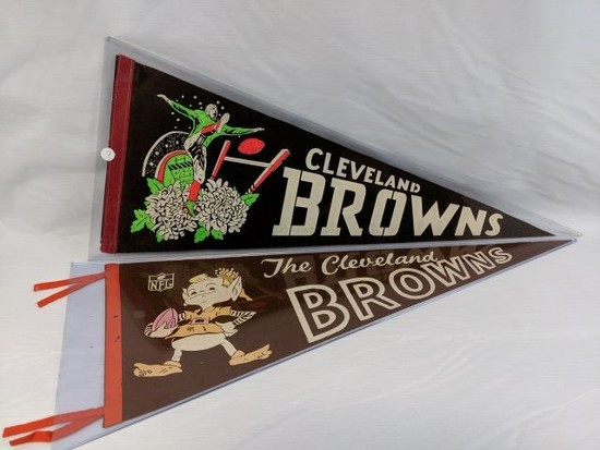 Cleveland Browns Vintage Full-Size Pennants - Lot of 2