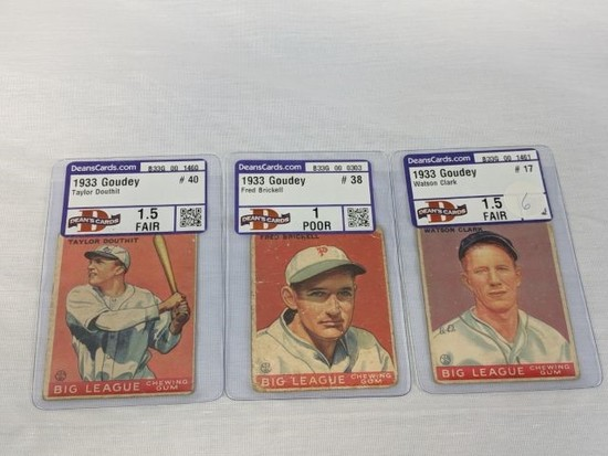 1933 Goudey graded Deans Cards: Clark #17, Douthit #40, Brickell #38