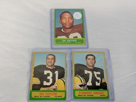 1963 Topps Football lot with Jim Brown short print also Jim Taylor, Forrest Gregg