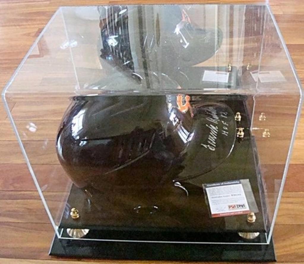 Frank Robinson signed full size Orioles batting helmet & display case. PSA