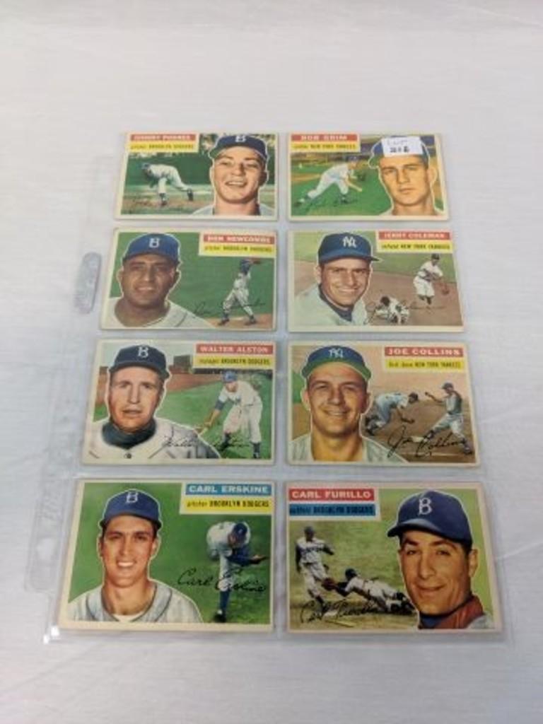 1956 Topps Baseball 8 Card Yankee-Dodger Lot