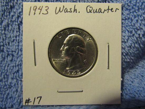 1943 WASHINGTON QUARTER BU