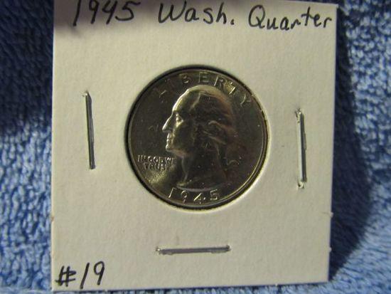 1945 WASHINGTON QUARTER BU