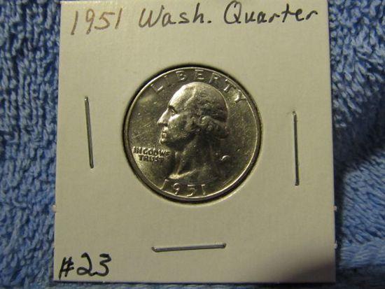 1951 WASHINGTON QUARTER BU