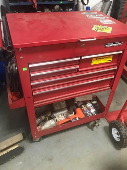 US General Rollaway Tool Cart on casters, NO CONTENTS INCLUDED, 31 inches wide, 41 inches tall