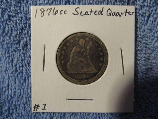 1876CC SEATED QUARTER VF
