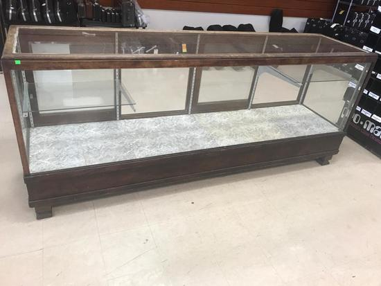 Antique Wooden Display case, with glass shevles and brackets included