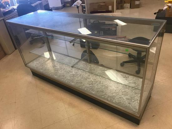 Glass Display Case with shelves and brackets, 72 long, 22 deep, 38 inches tall