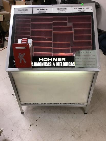 Homner Harmonicas Display, with working electric, approx 45 inches tall
